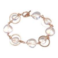 Heart Shape Pink Quartz Bracelet Rose Gold Plated Clasp