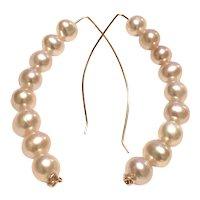 7mm AAA Pink Pearl Long Hook Earring Hoop 14K Rose Gold Filled