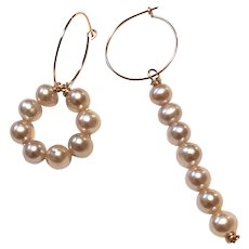 7mm AAA Pink Pearl Asymmetrical Statement Earring Pearl Hoops Long Dangling Earring 14k Rose Gold Filled
