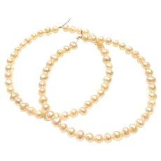 "2"" Large Pearl Hoop Earring 4mm Freshwater Pearls 14K Gold Filled Handmade"