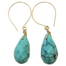 14K GF Natural Turquoise Faceted Teardrop Earring War Wire Hoops