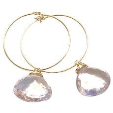 14K Gold Filled Lavender Pink Amethyst Drop Hoop Earring February Birthstone