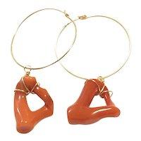 14K Gold Filled Natural Red Italian Coral Branch Loop Drop Hoop Earring