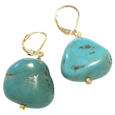 Natural American Turquoise Nugget Drop Earring Gold Plated Lever Back