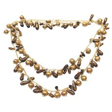 "40"" Natural Gold Coral and Gold Freshwater Pearls Necklace Matte Gold Brass Chain"
