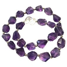 Intense Purple Amethyst Chunky Beads Necklace Sterling Silver