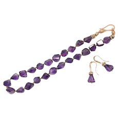 Intense Purple Amethyst Chunky Necklace and Earring Set Rose Gold Plate February Birthstone