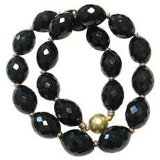 Large Olive Shape Black Onyx Necklace Matte Gold