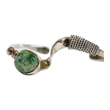 Sterling and 12k Gold Filled Contemporary Native American Cuff Bracelet