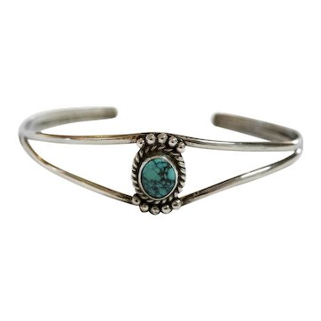 Dainty Signed Silver and Turquoise Cuff Bracelet