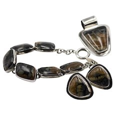 Cital Castillo  Jasper and Sterling Set - Bracelet, Earrings, and Pendant
