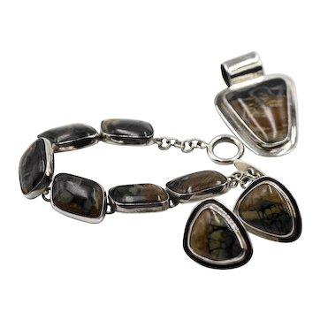 Cital Castillo  Jasper and Sterling Set - Bracelet, Earrings, and Pendant