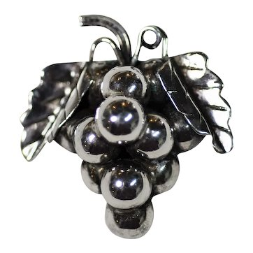 Mexican Sterling Silver Grapes Pin
