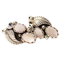 Pink Shell and Sterling Silvers Leaves and Vines Earrings