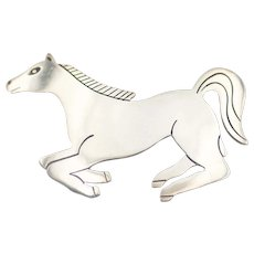 Sterling Running Horse Pin Native American Style