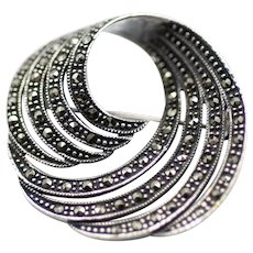Sterling and Marcasite Swirl Pin/Brooch