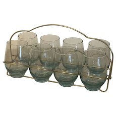 Vintage Mid Century Barware 8 oz. Blue Tint Glasses Set Of 8 With Caddy Carrier