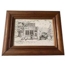 Vintage Original Framed Pencil Art drawing by Robert Daugherty, Coca-Cola Memorabilia