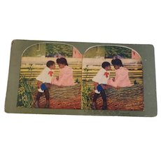 Stereo Viewer Card By T. W. Ingersoll One Stick of Gum for Two #6   Copyrighted 1898