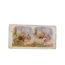 """Vintage Stereo Viewer Card  """"Want Some Supper, Bob""""  #489  Hunting Scene"""
