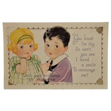 Vintage Valentine Postcard  Cute Boy and Girl  Used Postcard with Undivided Back  Postmark New York 1929