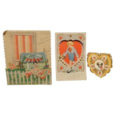 Vintage Valentines  3 in Lot  All are Embossed One Moves