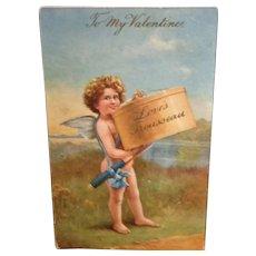 """Vintage Raphael Tuck Valentine Postcard  Oilette  """"Cupid's Favors""""  Used Divided Back"""