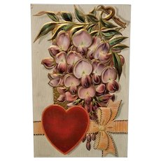 Vintage Victorian Style Valentine Postcard Embossed and Scalloped Edges Dated 1909    Wistaria Over