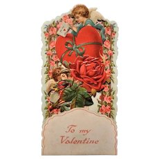Vintage Die Cut Fold Out Valentine Card Embossed Beautiful Made In Germany 1900