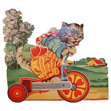 Vintage Mechanical Valentine  Cat on a Bike  Made in Germany  Movable Parts Work