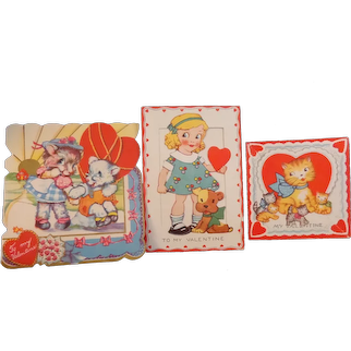 Vintage Valentines 3 in Lot Victorian Styled w/ Embossing and Scalloped Edges  1906 & 1907