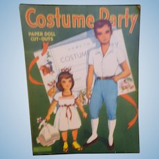 "Vintage Uncut Paper Dolls ""Costume Party""  Two Dolls and 4 Pages of Uncut Outfits"