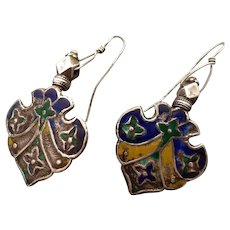 Vintage India 800 silver and enamel large earrings