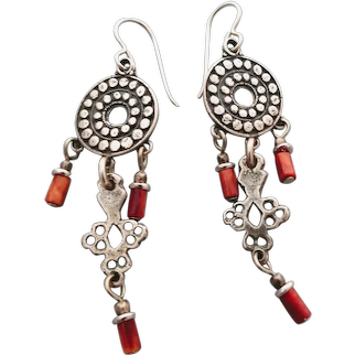 Red spiny oyster shell and sterling silver earrings light weight Moroccan