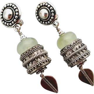 Clip on earrings, green quartz and sterling silver, lead free pewter plated with rhodium clip on