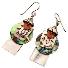 Stamped sterling, mother of pearl, paua shell earrings light weight