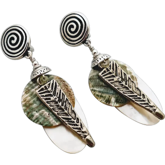 Clip on lightweight earrings mother of pearl, white bronze and sterling, can be switched to lever back, post or ear wire