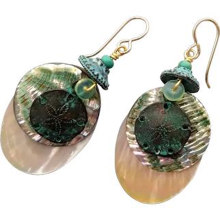 Sand dollar with abalone and MOP lightweight earrings