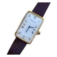 Tiffany & Co. Vintage 18K Yellow Gold, Tank Shaped, Manual Wind Watch