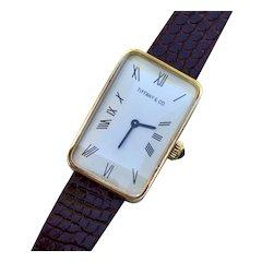 Tiffany & Co. Vintage 18K Yellow Gold, Tank Shaped, Manual Wind Watch