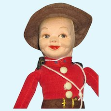 "Vintage Doll 9"" Norah Wellings Canadian Mounted Police"