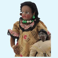 Two Vintage Black Dolls, Felt and Composition
