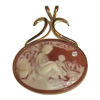 Two Figure Cameo Pendant, Curved Fitting for Necklace Chain