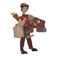 "11"" Klumpe Felt Bellhop Doll with Bird cage"