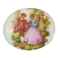Porcelain Limoge Pin Romantic Couple, Made France