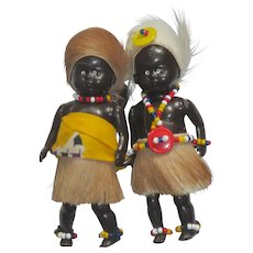"Vintage Dolls, Family of 3  Maori Costume, 4 1/2"" Tall"