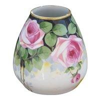 Hand Painted Roses Bavarian Vase