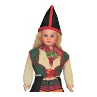 German Bisque Head Doll, Swedish Costume