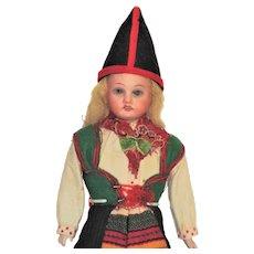 German Bisque Head Doll, Swedish Costume