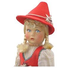 "15"" Vintage All Original Felt Doll"